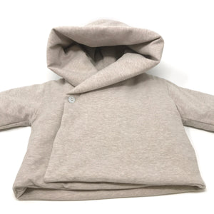 Baby Crossover Button Hooded Jacket - Beige