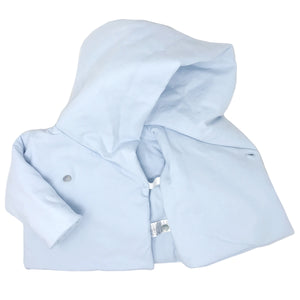 Baby Crossover Button Hooded Jacket - Blue