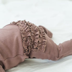 oh baby! Zipper Ruffle Footie Baby Rib - Lavender