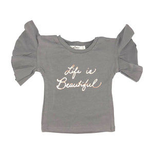 oh baby! Varsity Short Sleeve Tee - Life is Beautiful Rose Gold - Gray