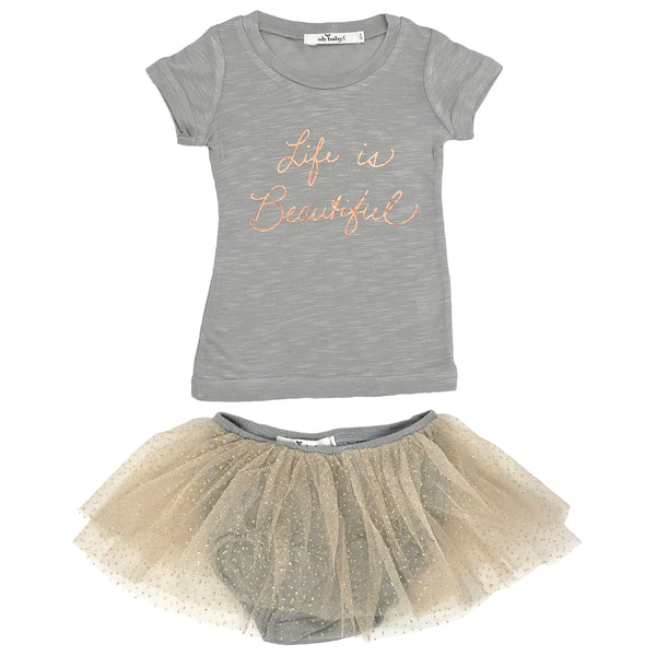 "oh baby! ""Life is Beautiful"" Rose Gold Foil Glinda Tushie Set - Champagne/Gray"