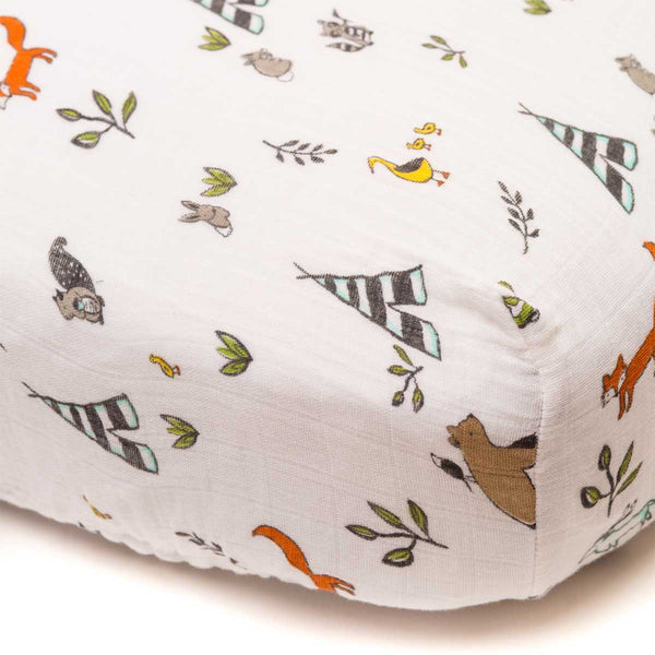 little unicorn Cotton Muslin Crib Sheet - Forest Friends - oh baby!
