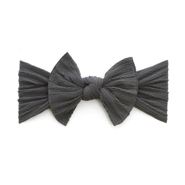 Cable Knit Knot Bow Headband - Charcoal - oh baby!
