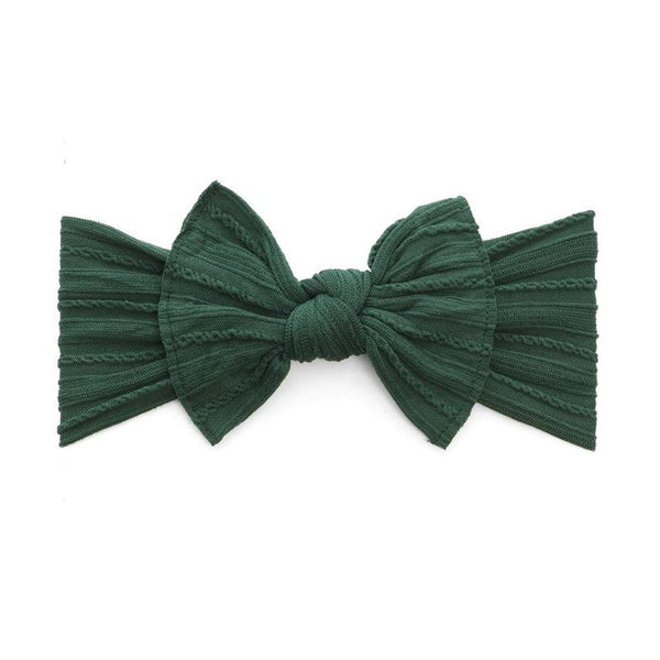 Cable Knit Knot Bow Headband - Forest - oh baby!
