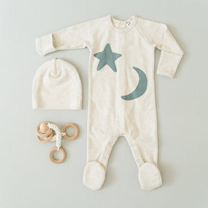 oh baby! Snapback Footie Baby Rib with Star and Moon - Sand