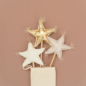 oh baby! Oyster Linen Star Wand - Blush/Gold Trim