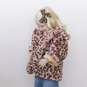 oh baby! Faux Fur Blush Cheetah Leopard Infant Jacket