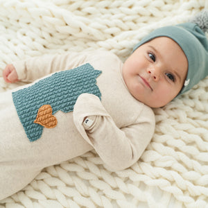 oh baby! Onesie Footie - Minnesota Love Sea - Sand