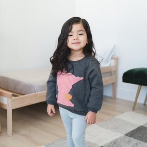 oh baby! Minnesota Love Boxy Sweatshirt Blush, Charcoal