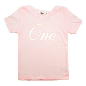 "oh baby! Perfect Tee - ""One"" Gold Foil - Pale Pink"