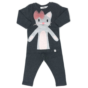 oh baby! Two Piece Set - Phoebe Kitty - Silver/Charcoal