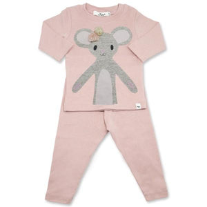oh baby! Two Piece Set - Pom Pom Daisy Mouse in Sand and Sparkle - Blush