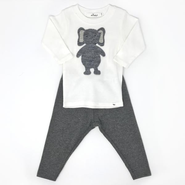 oh baby! Two Piece Set - Ragdoll Elephant Mixed - Charcoal