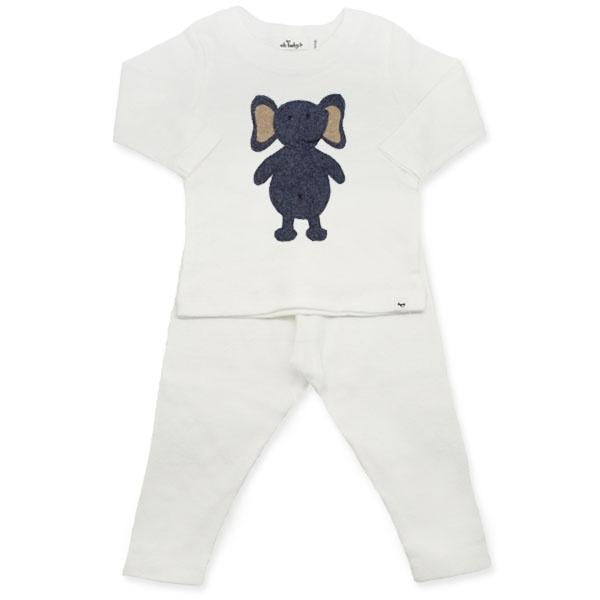 oh baby! Two Piece Set - Ragdoll Fuzzy Navy Elephant - Cream