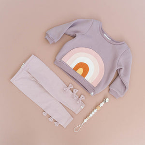 oh baby! Rainbow Pocket Brooklyn Boxy Sweatshirt - Dusty Lavender