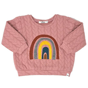 oh baby! Quilted Cable Sweatshirt, Rainbow, Blush