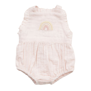 Angel Dear Rainbows Muslin Overall Ruffle Bubble Romper