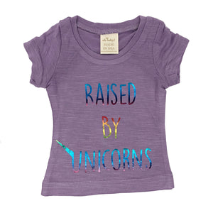 "oh baby! Short Sleeve Bamboo Slub Tee - ""Raised by Unicorns"" Rainbow - Lilac"