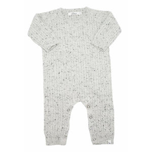 oh baby! Cable Knit Cashmere Sweater Romper - Dappled Grey