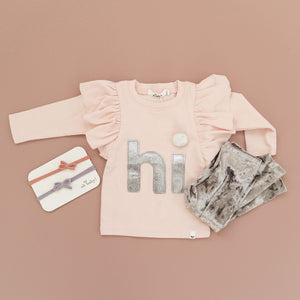 "oh baby! Butterfly Sleeve Tee ""hi"" - Pale Pink"