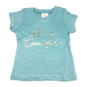 "oh baby! Short Sleeve Bamboo Slub Tee - ""Life is Beautiful"" Gold - Blue"