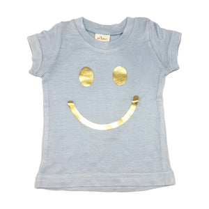 oh baby! Short Sleeve Bamboo Slub Tee - Smiley Gold Foil - Powder Blue