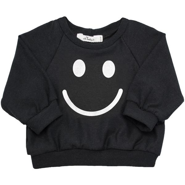 oh baby! SoHo Boxy Sweatshirt - Smiley Black Ink  - Cream