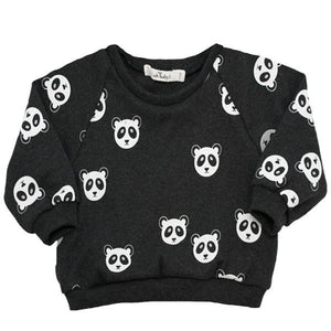 Oh Baby! SoHo Boxy Sweatshirt - All Over Pandas White Ink - Black