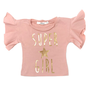 oh baby! Varsity Short Sleeve Tee - Super Girl - Blush