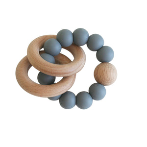 Alimrose Beechwood Teether Rings Set - Storm Grey