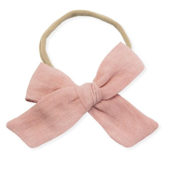 oh baby! School Girl Bow Linen Nylon Headband - Large Bow - Terracotta