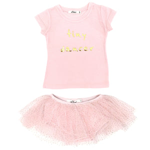 "oh baby! ""Tiny Dancer"" Gold Foil Glinda Tushie Set - Lt Pink/Gold"