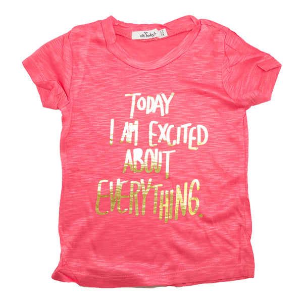"oh baby! Short Sleeve Slub Tee - ""Today I Am Excited..."" Gold Foil - Coral"