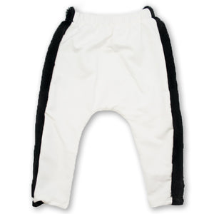 Oh Baby! NoHo Jogger Pants- Black Fur Trim - Cream