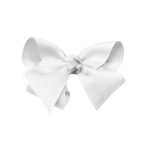 oh baby! Grosgrain Large Ribbon Bow Hair Clip - White - oh baby!