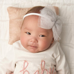 oh baby! Glinda Bow Nylon Headband - White