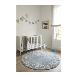 ABC Round Washable Rug -  Vintage Blue/Natural