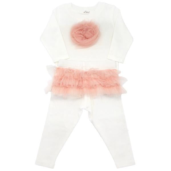 oh baby! Two Piece Set - Frill Flower Apricot Ruffle Back - Cream