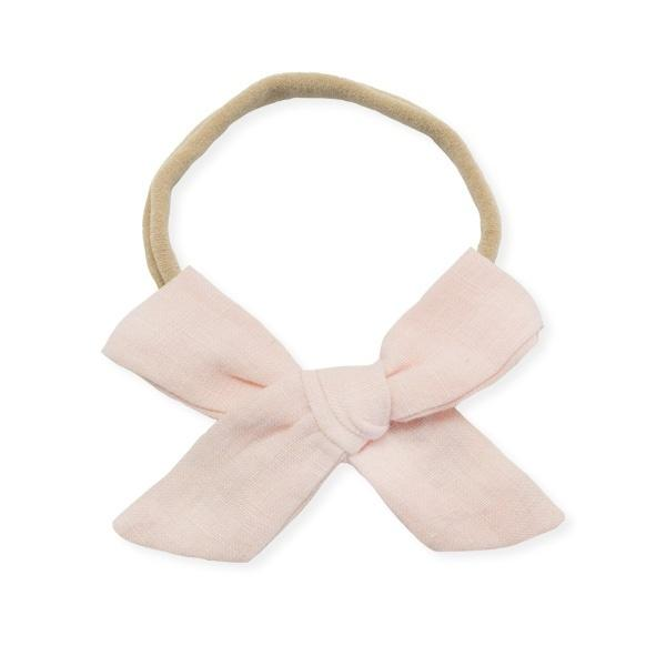 oh baby! School Girl Bow Linen Nylon Headband - Medium Bow - Apricot