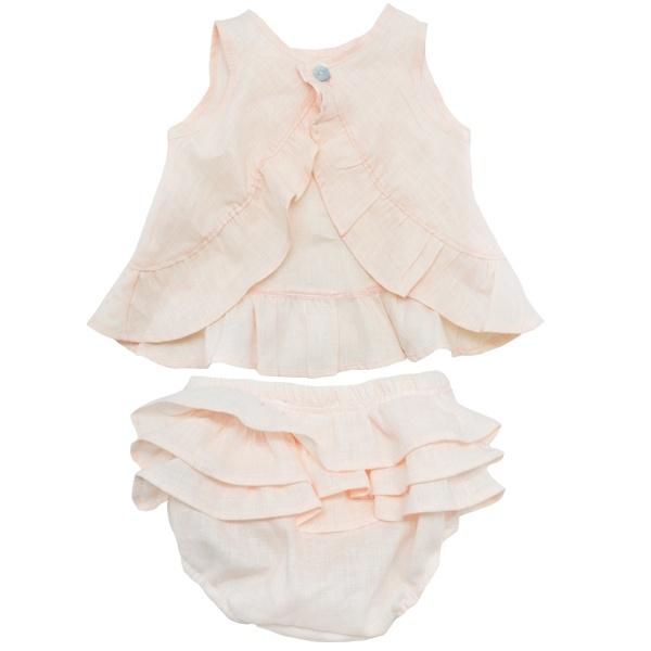 oh baby! Dolly Linen Ruffle Top and Tushie Set - Apricot - oh baby!