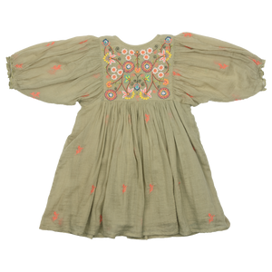 Pink Chicken Ava Bella Dress - Green Tea w/ Multi Embroidery - Back