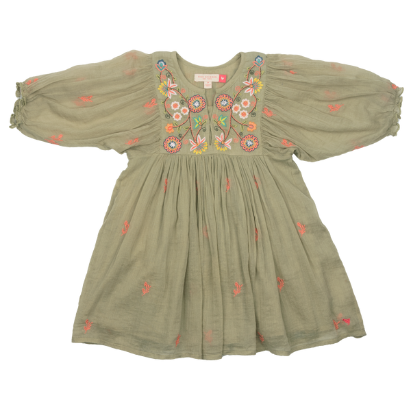 Pink Chicken Ava Bella Dress - Green Tea w/ Multi Embroidery - Front