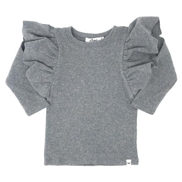 oh baby! Butterfly Sleeve Tee - Coal