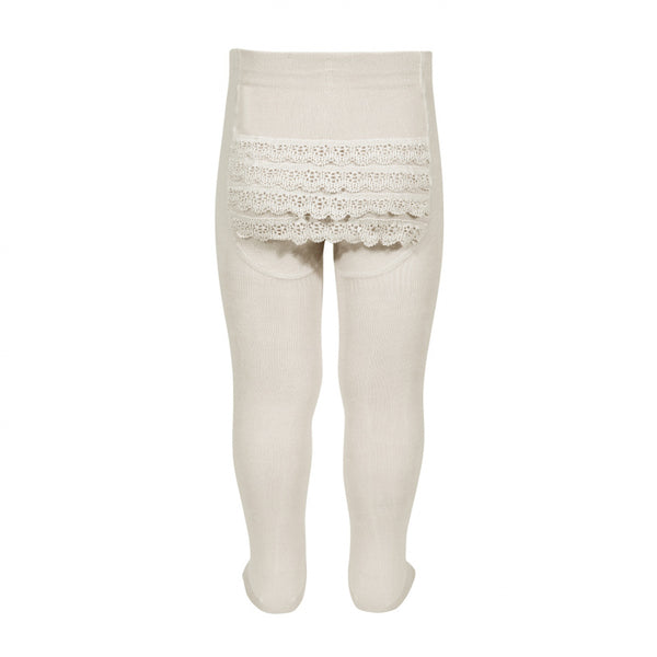 Condor Baby Lace Bottom Tights - Linen - oh baby!