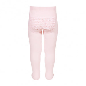 Condor Baby Lace Bottom Tights - Pink - oh baby!