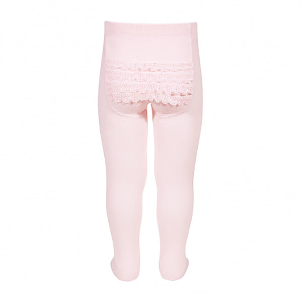Back Lace Tights - Light Pink