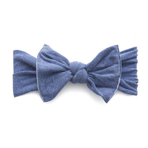 Knot Bow Pattern Headband - Stonewash Denim - oh baby!