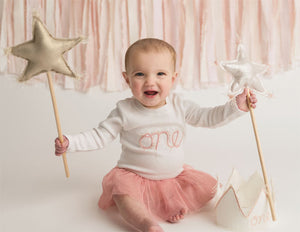 oh baby! Metallic Linen Star Wand - Blush