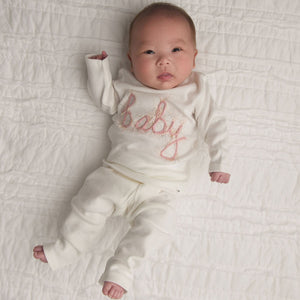 oh baby! Two Piece Set - Baby in Blush Pink/Gold Yarn - Cream