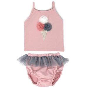 oh baby! Triple Scoop Mesh Ballet Tank Tushie Set - Blush